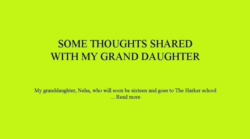 CORE MORAL VALUES: SOME THOUGHTS SHARED WITH MY GRAND DAUGHTER