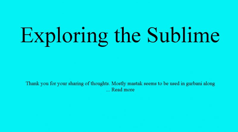 Exploring the Sublime